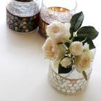 花瓶 ガラス フラワーベース おしゃれ 丸 円柱 円筒 かわいい 可愛い キャンドルホルダー モザイクガラスベース3カラー