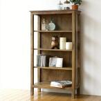 飾り棚 おしゃれ アンティーク 木製 本棚 文庫本 スリム ウッドラック ウッドシェルフ リビング収納 サイドガラスの4段シェルフ