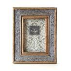 フォトフレーム 写真立て 木製 おしゃれ 壁掛け 壁掛 卓上 クラシック アンティーク レトロ L判 ウッド&メタルフォトフレーム アラベスクA