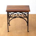 サイドテーブル 木製 おしゃれ ベッドサイドテーブル ソファサイドテーブル 花台 シンプル ナチュラル アジアン アイアンとシーシャムのネストテーブル S