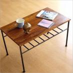 ローテーブル アイアン 無垢 天然木 木製 鉄脚 おしゃれ コーヒーテーブル シンプル アジアン 棚付き 長方形 シーシャムウッドとアイアンのローテーブル