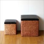 収納ボックス おしゃれ フタ付き 椅子 スツール 収納かご カゴ バスケット アジアン雑貨 シーグラスボックス スクエア2個セット