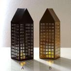 キャンドルホルダー ブリキ おしゃれ かわいい LEDキャンドル おうち ハウス 家 デザイン オブジェ 置物 ブリキのLED付きトールハウス 2カラー