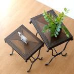 サイドテーブル 木製 おしゃれ アンティーク 花台 ウッドネストテーブル 2サイズセット