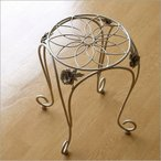 スツール おしゃれ デザイン かわいい 椅子 いす イス 花台 薔薇 (アウトレット)アイアンエレガントスツール