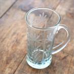 切子グラス 切り子 一口ビールグラス 小さい ビアグラス 持ち手付き ガラスコップ (アウトレット)切子一口ビアコップ