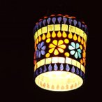 ペンダントライト おしゃれ ガラス アンティーク LED対応 円筒 丸 フラワー レトロ 1灯 天井照明 (アウトレット)モザイクガラスのミニペンダントライト B