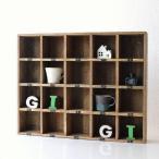 コレクション棚 飾り棚 木製 仕切り棚 コレクションラック 番号付き レトロ シャビーシックなマルチ20ボックス