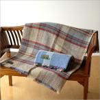 イギリス製 ツイードミルテキスタイル Tweedmill Textiles ブランケット ウール100% チェック柄 ラグ ひさ掛け 横161×縦117 リサイクルウールブランケット