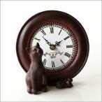 置き時計 置時計 アンティーク おしゃれ かわいい レトロ アナログ 猫 ねずみ スタンドクロック テーブルクロック キャット&マウスクロック