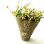 花瓶 花びん 陶器 おしゃれ フラワーベース 花器 テラコッタ 素焼き 洋風 花入れ インテリア デザイン グリーン 緑 口広 口が広い 陶器のミニベース フローラ