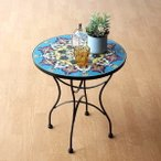ガーデンテーブル タイル おしゃれ かわいい アイアン 円形 丸型 ガーデン 丸テーブル お庭 モザイクタイルのミニテーブル エミリオ