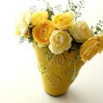 フラワーベース 花瓶 花びん 陶器 花器 おしゃれ アンティーク 横長 口が広い 花入れ 洋風 モダン かわいい インテリア 陶器のベース スモールイエロー