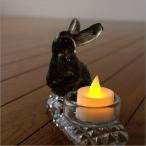 キャンドルホルダー ガラス うさぎ ウサギ 雑貨 置物 置き物 LED付きグラスラビットホルダー