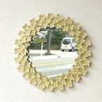 鏡 おしゃれ レトロ かわいい ホワイトアイアンの壁掛けミラー