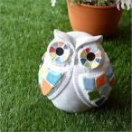 フクロウ ふくろう ガーデンオブジェ インテリア 置物 タイル カラフル かわいい おしゃれ ガーデニング ガーデンオーナメント カラフルタイルオブジェ フクロウ