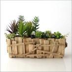 フェイクグリーン 多肉植物 寄せ植え インテリア 人工観葉植物 フェイクなカクタスのウッドポット B