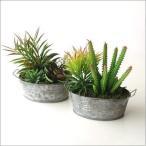フェイクグリーン 多肉植物 寄せ植え 人工観葉植物 インテリア フェイクなカクタスのブリキポット2タイプ
