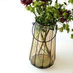 花瓶 花びん フラワーベース ガラス アイアン 大きい おしゃれ シンプル アンティーク モダン レトロ 花器 インテリア アイアンとガラスのビッグベースB