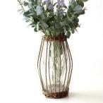 フラワーベース ガラス 花瓶 花びん おしゃれ 柳 蔓 自然素材 ナチュラル 花器 シンプル ガラスベース インテリア ウィローとガラスのベース A