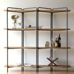 飾り棚 飾棚 おしゃれ シンプル ディスプレイラック 木製 本棚 スリム 薄型 オープンシェルフ ナチュラル インテリア アイアンとウッドのワイド4段シェルフ