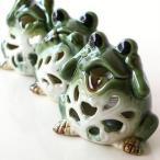 キャンドルホルダー かえる カエル 雑貨 陶器 置物 置き物 カエルのキャンドルポット 3セット