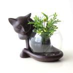 花瓶 花びん ガラス フラワーベース 猫 オブジェ 置物 雑貨 小物入れ かわいい おしゃれ インテリア 子ネコのミニベース しっぽネコ