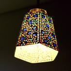 ペンダントライト ガラス おしゃれ かわいい 可愛い モザイク 1灯 シーリングライト 天井照明 トイレ キッチン モザイクハンギングランプ 六角スター