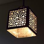 ペンダントライト ガラス おしゃれ かわいい 可愛い モザイク 1灯 シーリングライト 天井照明 トイレ キッチン モザイクハンギングランプ スクエアドット