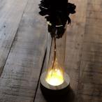 花瓶 おしゃれ ガラス フラワーベース LED ライト 透明 クリア スタイリッシュ モダン シンプル LED付きガラススタンドベース B