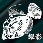 カワハギ ステッカー 釣り サイズ:14cm×16cm (白色)    釣師が絶賛!する釣ステッカー  圧巻のインパクト!