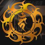 トライバル 梵字 不動明王 ステッカー 車 バイク用 サイズ:12cm×12cm :ゴールド色 ステッカー かっこいい 車 ステッカー