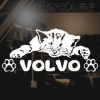 VOLVO ボルボ 女性に人気の 車 ステッカー 猫エンブレム リアガラス用