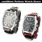 腕時計 レザーウォッチ メンズ パイソン レッド ホワイト ブランド レザー腕時計 メンズ ブレスレット