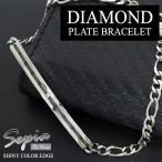 サージカルステンレス ブレスレット メンズ ブランド 天然ダイヤモンド プレート シンプル ブラックエッジ ブレスレット