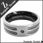 リング メンズ サージカルステンレス ダブルワイヤー ブラックジルコニア 15-23号 ブランド ザニポロタルツィーニ 指輪 メンズリング プレゼント
