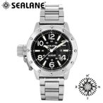 腕時計 メンズ ブランド シーレーン SE54 ブラック 自動巻き メタルベルト メンズ腕時計