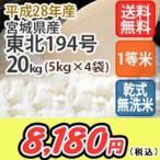 お米 無洗米 20kg(5Kgx4) 宮城産東北194号 特別栽培米 乾式無洗米 送料無料 平成28年産