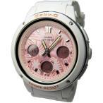 腕時計 レディース カシオ(CASIO) ベビーG(Baby-G) アナデジ 150型 ビッグフェイス 南国 クォーツ ホワイト/ピンク色 BGA-150F-7A / 当店再検品済