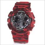 腕時計 メンズ カシオ(CASIO) Gショック(G-SHOCK) 100型 アナデジ クォーツ カモフラージュ レッド/カモフラージュ ブラック色 GA-100CM-4A / 当店再検品済