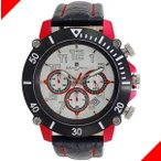 腕時計 メンズ サルバトーレマーラ(SalvatoreMarra) クロノグラフ 日付表示 革ベルト レッド/ホワイト/ブラック色 SM13115-SSSVRD / 当店再検品済