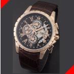 腕時計 メンズ サルバトーレマーラ(SalvatoreMarra) クロノグラフ 日付表示 革ベルト ローズゴールド/ブラック×ローズゴールド/ブラウン色 SM13119S-PGBK