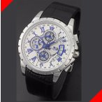 腕時計 メンズ サルバトーレマーラ(SalvatoreMarra) クロノグラフ 日付表示 革ベルト シルバー/ホワイト×ブルー/ブラック色 SM13119S-SSWHBL / 当店再検品済