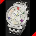腕時計 メンズ サルバトーレマーラ(SalvatoreMarra) クロノグラフ ステンレスベルト シルバー/ホワイト×カラフル色 SM14107-SSWHCL / 当店再検品済