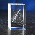 【受注生産お届け2週間】 クリスタルペーパーウェイト バイオリン 3Dレーザー インテリア オブジェ 置物
