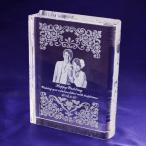 ショッピング写真 【お届け2週間】 ブック型クリスタル 写真・オリジナルメッセージ彫刻 【彫刻代込み】
