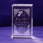 【お届け2週間】 彫刻代込み クリスタルブロックメモリアル 小さなペット位牌  オリジナルメッセージ彫刻