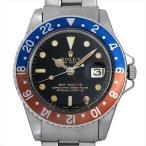 【48回払いまで無金利】ロレックス GMTマスター 18番 1675 ブラックミラー/小針 エクステンションUSリベットブレス アンティーク メンズ 腕時計