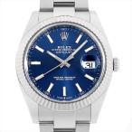 48回払いまで無金利 ロレックス デイトジャスト41 126334 ブルー/バー/3列ブレス ランダムシリアル 中古 メンズ 腕時計