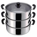 だんらん 両手鍋 3段 30cm IH対応 ステンレス製 両手3段 蒸し器 調理器具 三段蒸し器 ステンレス鍋 蒸し料理 なべ 二升用 鍋